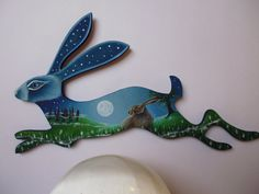 Hand Painted Wooden Hare Wall Plaque Made to Order by Lisa O'Malley Eveningstardust