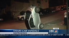 Suspects Flip Over Smart Cars in San Francisco.