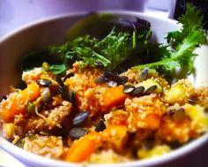 Deze couscous is herfstproof door de pompoen, pitjes en pittige salade melange.