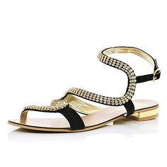Black diamante embellished spiral sandals £35.00