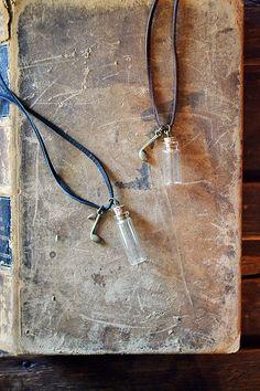 Musical Message In A Bottle Necklace   Leather  Vial by Keytiques #messageinabottle #emptybottle #tinybottle #bottlenecklace #handmade #shopsmall #etsy #keytiques #musicnote #music #forhim #forher