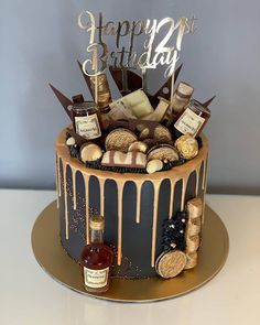 Celebrating a birthday in style! With golden drips cascading over a charcoal black buttercream cake. Adorned with golden flecks, mini bottles of Jack Daniels and all the kinder imaginable. Complete with a shining cake topper. for men Birthday Drip Cake Birthday Drip Cake, 25th Birthday Cakes, Birthday Cake For Him, Birthday Cake Decorating, 21st Birthday Ideas For Guys, Alcohol Birthday Cake, Birthday Cakes For Adults, Chocolate Drip Cake Birthday, 21 Bday Cake