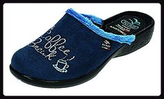 FlyFlot Damen Hausschuhe D.Pantoffel in blau, Größe 42.0, - Hausschuhe für frauen (*Partner-Link)