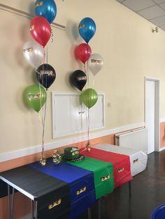 Lego Ninjago Party Decorations / Ninja Balloons / Ninja Table / Ninjago Cake Informations About Lego Cake Lego, Lego Ninjago Cake, Ninjago Party, Ninja Birthday Parties, Birthday Party Tables, 7th Birthday, Lego Parties, Birthday Ideas, Lego Party Decorations
