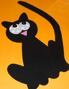 Fabric Applique TEMPLATE ONLY Halloween Long Tail Kitty Cat.