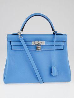 Hermes 32cm Blue Paradise Clemence Leather Palladium Plated Kelly Retourne  Bag  Hermes  EverydayBags Hermes 5c0cfc0eb4e09