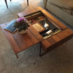 60 Creative DIY Projects Furniture Living Room Table Design Ideas 54 – Home Design Unique Coffee Table, Rustic Coffee Tables, Cool Coffee Tables, Decorating Coffee Tables, Coffee Table Design, Diy Decorating, Coffee Table With Hidden Storage, Diy Storage Coffee Table, Diy Table