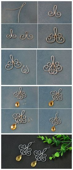 ideas for making earrings . - Beebeecraft ideas for making wire-wound earrings … – designing textiles – -Beebeecraft ideas for making earrings . - Beebeecraft ideas for making wire-wound earrings … – designing textiles – - Wire Jewelry Designs, Diy Jewelry Tutorials, Handmade Wire Jewelry, Metal Jewelry, Jewelry Crafts, Beaded Jewelry, Wire Jewellery, Wire Jewelry Making, Jewellery Shops
