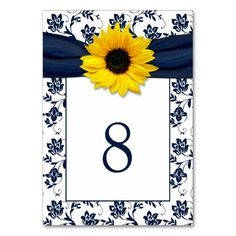 Yellow Navy Blue Damask Sunflower Ribbon Wedding Table Card #wedding favors, #bridal shower favors, #party favors, #personalized favors, #decorations, #bridesmaids gifts, #bridal party gifts, #wedding supplies #timelesstreasure