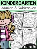 Kindergarten Addition and Subtraction Worksheets (up to - Distance Learning Shapes Worksheet Kindergarten, Kindergarten Addition, Numbers Kindergarten, Fun Math Games, Class Activities, Phonics Activities, Addition Words, Addition And Subtraction Worksheets, Math Stations