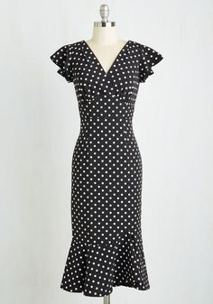 1940s Polka dot Wiggle Dress. Plus sizes too. Noteworthy to Self Dress $174.99 AT vintagedancer.com