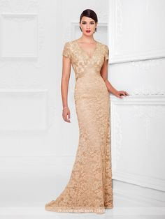 Lace A-line gown with hand-beaded illusion scalloped short sleeves, beaded V-neckline, beaded inverted empire waistline, keyhole back, slight sweep train. Sizes: 4 – 20 Color: Gold