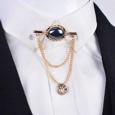 High quality Fashion Crystal gem men brooch with tassel chain shirt tassels Men Suit Lapel Pin accessories shawl collar Suit Accessories, Fashion Accessories, Fashion Jewelry, Jewellery Uk, Fashion Bracelets, Collar Clips, Collar Pin, Jad, Accesorios Casual