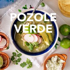 Chicken Pozole Verde is a hearty hominy-based stew from Mexico. - Chicken Pozole Verde is a hearty hominy-based stew from Mexico. In this green version, the broth is - Authentic Mexican Recipes, Mexican Soup Recipes, Homemade Mexican Salsa, Hominy Recipes, Mexican Desserts, Posole Recipe Chicken, Chicken Recipes, Recipe For Green Pozole, Easy Pozole Recipe