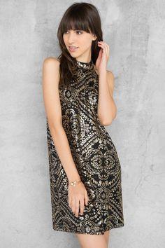 Gold & Black Lucianna Sequin Shift Dress   Occasion Dresses   francesca's