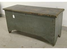 18th Century Lower CT River Valley six board painted blanket chest. Early 19th Century green overpaint. Original rat tail hinges. Nice cutouts on the base. Original till with hidden drawer.