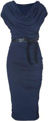 DONNA KARAN New Navy Draped Jersey Dress With Belt
