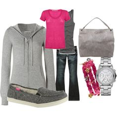 Grey and pop of pink <3 I love the Roxy shoes too.