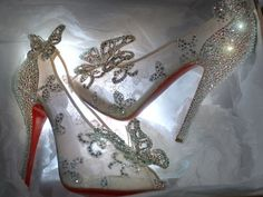 Disney + Louboutin Cinderella Shoes.... I wonder if I can own these 1 day? These would have been perfect with my wedding dress and theme!!