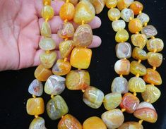 Bright Yellow Agate nugget beads 15x20-8x12mm by CGPGemBeads
