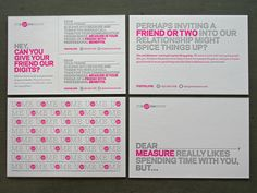 Measure Promo Cards  Day-glo pink and metallic silver ink were letterpress printed on Crane Lettra Flo White 110c that we duplexed after printing for a finished thickness of 220c. One card then received two perforation lines, allowing it to break down into smaller cards. #Measure #PromoCard