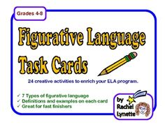 Use these 24 Figurative Language Task for ELA enrichment. Seven types of figurative language are included: simile, metaphor, idiom, hyperbole, personification, onomatopoeia, and alliteration. The tasks on these cards are designed to be done without extra help or extra materials other than paper and pencil, and are mostly writing based. $