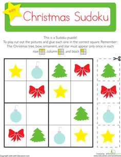 Christmas sudoku lets your child exercise his brain while cutting a pasting festive holiday images. Play Christmas sudoku with your child this holiday season.