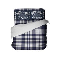 Preppy Surfer Blue and White Plaid Comforter Set from Extremely Stoked #ComforterSets