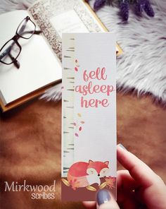 Mark your place with this sweet sleeping fox bookmark. Tuck into a copy of your favorite book for the perfect gift! Doesnt everyone love bookmarks!? -Size 2x6 inches -Printed on heavy white linen card stock - not laminated -Comes with a clear plastic sleeve -Single sided, the back is