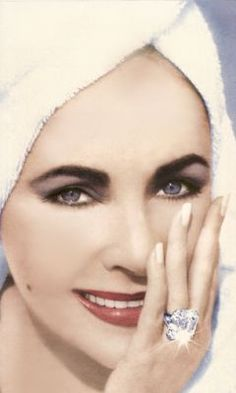 Elizabeth Taylor wearing Krupp Diamond ring - and doesn't she wear it well!! That diamond, that face, both are so beautiful! This link leads to information about this stunning diamond. sighsighsigh <3