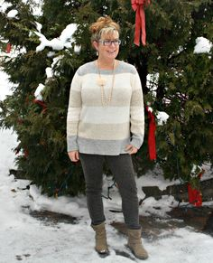Banana Republic Stripped Sweater and tweed leggings with short boots 6