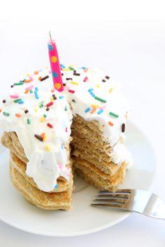 Birthday Cake Batter Protein Pancakes