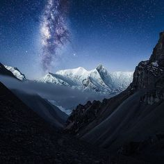 The mighty Annapurna in the background Nepal Destinations, Mountain Photos, Mountain Village, Travel Abroad, Best Vacations, Night Photography, Incredible India, Milky Way, Conservation