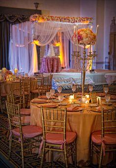 Romantic pink and gold ballroom wedding