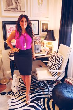 MadeByGirl: Cheetah Print Obsessed. Ashlina Kaposta, decorista blog, NYC apartment, home office space, manhattan apartment. Black and white zebra print rig, Gold table lamp with black lamp shade