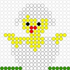 Chick in egg shell Pearler Bead Patterns, Perler Patterns, Beaded Cross Stitch, Cross Stitch Patterns, Perler Beads, Beading For Kids, Iron Beads, Melting Beads, Alpha Patterns