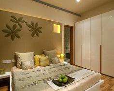 Elegant Stylish Interior with Wooden Material and Lamp Design : Cozy Bedroom Interior White Closet Door Residential APT In Mumbai Luxury Bedroom Design, Room Design Bedroom, Bedroom Themes, Bedroom Decor, Cozy Bedroom, Interior Design, Kids Bedroom, Bedroom Ideas, Bad Room Design