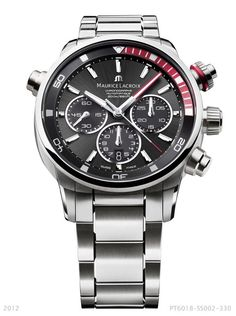 The Pontos S in red with a stainless steel bracelet. Featuring a quick date pusher at 10 o'clock, chronograph, date, small seconds, 43mm case and water-resistant to 200m. PT6018-SS002-330.