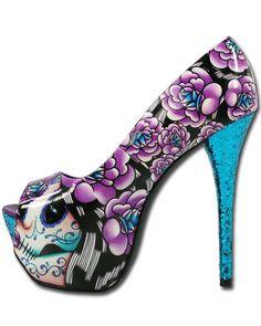 Sugar Skull High Heels   ... Day of The Dead Tattoo Glitter Mega High Heels Platforms Shoes   eBay
