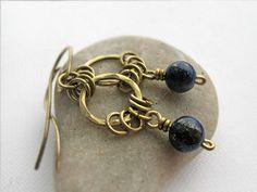 Lapis Lazuli Brass Hoops Dangle Earrings December by JustynaSart
