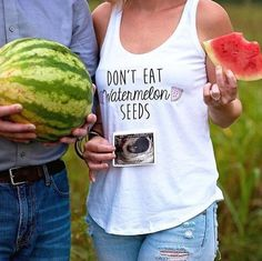 Don't eat Watermelon Seeds! Such an adorable baby announcement! Great gift for a pregnant friend also! Available on Etsy now!
