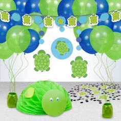 Shop for Turtle Party Decoration Kit and other Decoration Kits Decorations. We offer the most popular Party Supplies and Decorations at whol. Turtle Birthday Parties, Monster Birthday Parties, Turtle Party, First Birthday Parties, Birthday Party Themes, Birthday Ideas, Baby Shower Parties, Baby Boy Shower, Party Kit