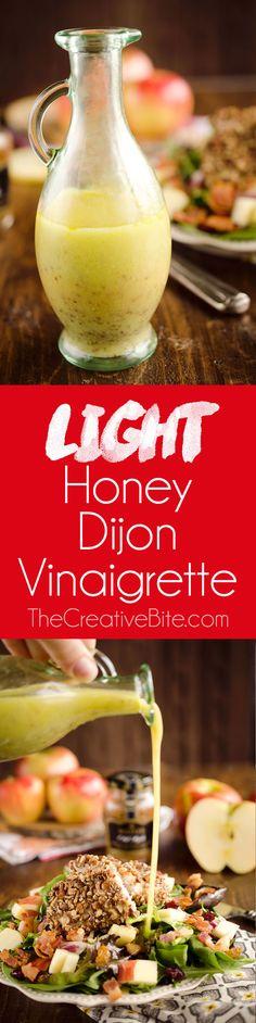Light Honey Dijon Vinaigrette is a light and healthy dressing with whole grain mustard, apple cider, honey and vinegar