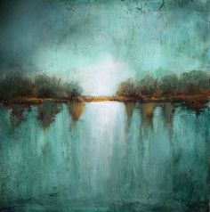 original landscape minimalism teal textured made by LaurenMarems, $200.00