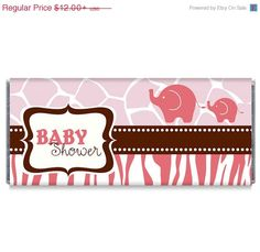 Pink Elephant Girl Baby Shower Candy Bar Wrappers. Great favors for your elephant or safari themed baby shower, by candybarwrappers.com