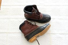 vintage Leather and rubber duck boots size 9 by ScottieinaCanoe