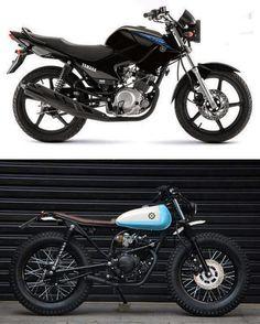 Vintage Motorcycles Antes e depois - Pogobol - Yamaha - Yamaha Cafe Racer, Yamaha 125, Motos Kawasaki, Suzuki Motos, Motos Yamaha, Tracker Motorcycle, Moto Bike, Cafe Racer Motorcycle, Cool Motorcycles