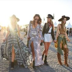 This photo gives you a variety of styles that you could see at Coachella. Since many of us have our own style, it is cool so see how other people pull things together. This picture also seems very natural and not posed at all. You can tell that they are actually enjoying their time.