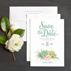 Romantic Succulents Save The Date Cards by Emily Crawford | Elli