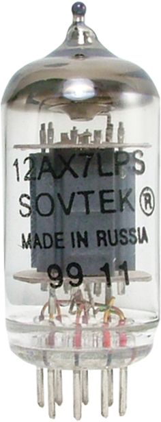 12AX7LPS, Sovtek---9 pin miniature preamp tube (Amplification Factor = 100). This Russian tube is full bodied and well balanced. It has a high gain with a very smooth presentation. In overdrive, it is not quite as defined as the 12AX7-S-JJ, but it offers more crunchy fizz. www.amplifiedparts.com